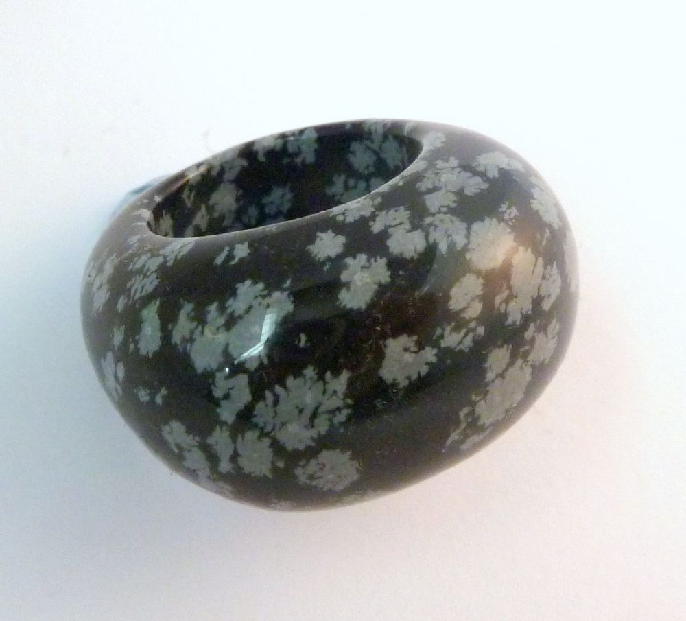 Large Chunky Snowflake Obsidian Carved Ring